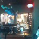 Tom mans the DJ booth