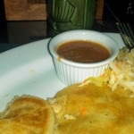 A delicious crawfish pupusa